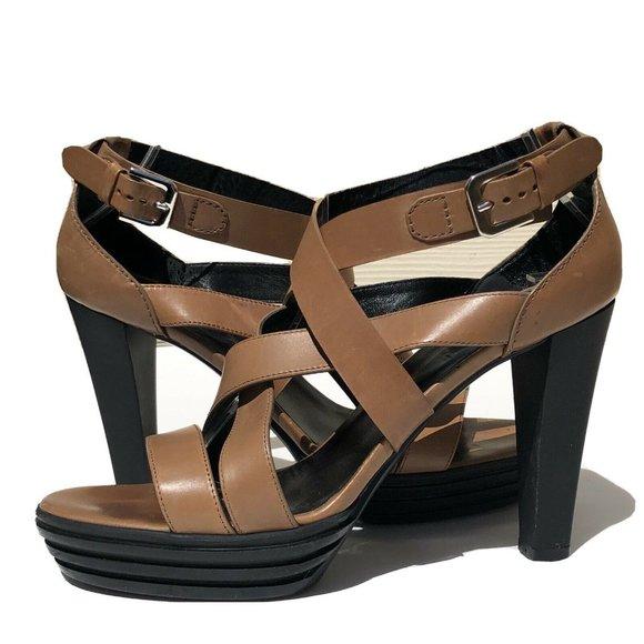 HOGAN Brown Strappy Platform Sandals Heels Sz 38